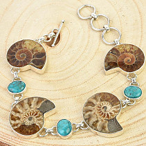 Silver bracelet ammonite and turquoise Ag 925/1000 26.6g