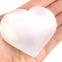 Selenite in the shape of a heart in the palm of 5 cm