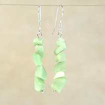 Earrings made of green stone ulexite Ag