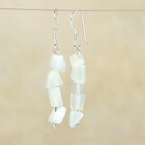 Earrings made of white stone ulexite Ag