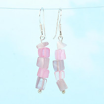 Earrings made of pink stone ulexite Ag