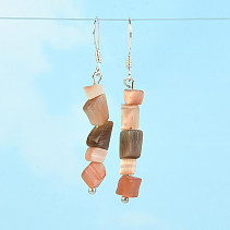 Earrings made of stone ulexite brown Ag