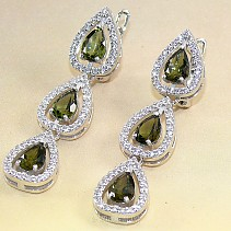 Earrings made of cut moldavite Ag 925/1000